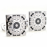 Kaleidoscope Cufflinks in Black & White
