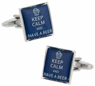 Keep Calm Beer Cufflinks