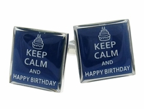 Keep Calm Happy Birthday Cufflinks