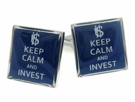 Keep Calm Invest Cufflinks