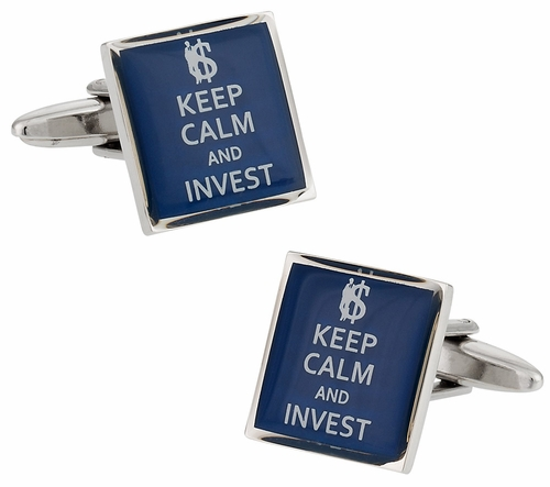 Keep Calm Invest Wall Street Finance Cufflinks