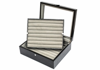 Large Leather Cufflinks Case Black 72 pairs