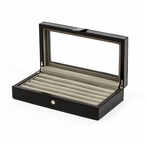 Leather Cufflinks Case in Black 20 pair