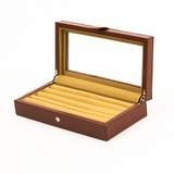 Leather Cufflinks Case in Brown 20 pair