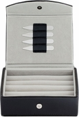 Leather Travel Cufflinks Box with 2 Pairs Metal Collar Stays