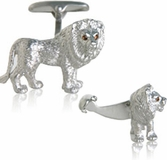 Lion Cufflinks with Swarovski Eyes