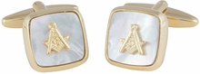 Masonic Compass Cufflinks Gold Mother of Pearl