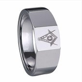 Masonic Ring in Tungsten with Compass & Scale