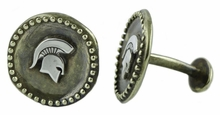 Michigan State Spartan Sterling Silver Logo CuffLinks