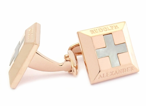 Mother of Pearl Cross Rose Gold Cufflinks