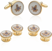 Mother of Pearl Masonic Cufflinks and Studs Formal Set