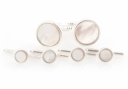 Mother of Pearl Spring-back Cufflinks and Studs Formal Set