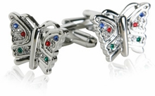 Multi-colored Crystal Butterfly Cufflinks