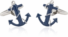 Navy Blue Anchor Rope Cufflinks