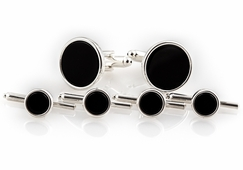Onyx Spring-back Cufflinks and Studs Formal Set