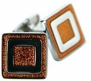 Orange Enamel Cufflinks
