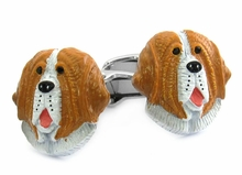 Painted Saint Bernard Cufflinks
