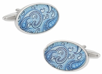 Paisley Cufflinks in Baby Blue