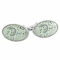 Paisley Cufflinks in Minty White