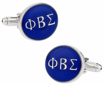 Phi Beta Sigma Blue Silver Cufflinks