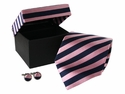 Pink Blue Striped Tie & Cufflinks