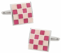 Pink Checkerboard Enamel Cufflinks