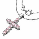 Pink Cross necklace with CZ Including FREE necklace