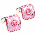 Pink Crystal Button Cufflinks
