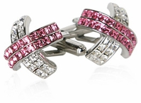 Pink X Crystal Cufflinks