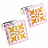 Pink Yellow Enamel Cufflinks