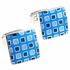 Pixelated Blue Cufflinks