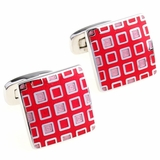 Pixelated Pink & Red Cufflinks
