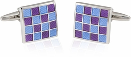 Purple Blue Checkerboard Enamel Cufflinks