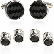 Quality Carbon Fiber Cufflinks and Studs Formal Set