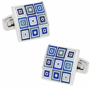 Quilted Cufflinks in Blue