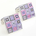 Quilted Cufflinks in Enamel