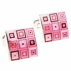 Quilted Cufflinks in Pink