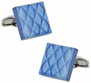 Quilted Metallic Blue Cufflinks