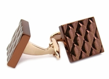 Quilted Metallic Brown Rose Gold Cufflinks