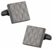 Quilted Metallic Gun Metal Cufflinks