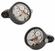 Real Gunmetal Working Watch Movements Cufflinks Functioning Steampunk Cuff-links with Presentation Box