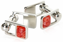 Red Cufflinks on Hinge