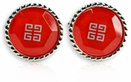 Red Cufflinks with Silver Inlay (DISCONTINUED)