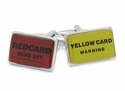 Red & Yellow Soccer Football Card Cufflinks