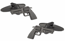 Revolver Handgun 6 Shooter Cufflinks in Gunmetal