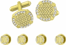 Ribbed Gold Cufflink Stud Set