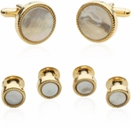 Ribbed Mother of Pearl Gold Tuxedo Cufflinks & Studs