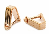 Ribbed V Cufflinks Rose Gold