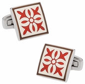 Rich Red White Enamel Cufflinks