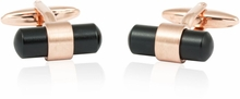 Rose Gold Black Banded Cufflinks